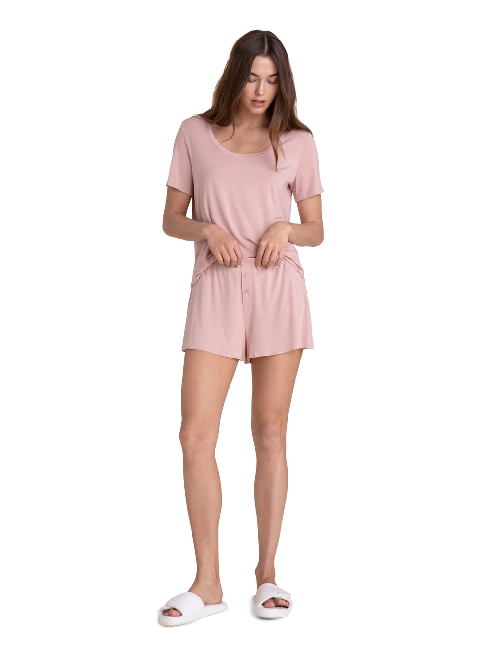 Barefoot Dreams Scoop Neck Short Set - Rose
