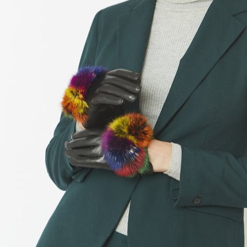 Leather gloves w/fur trim Multi