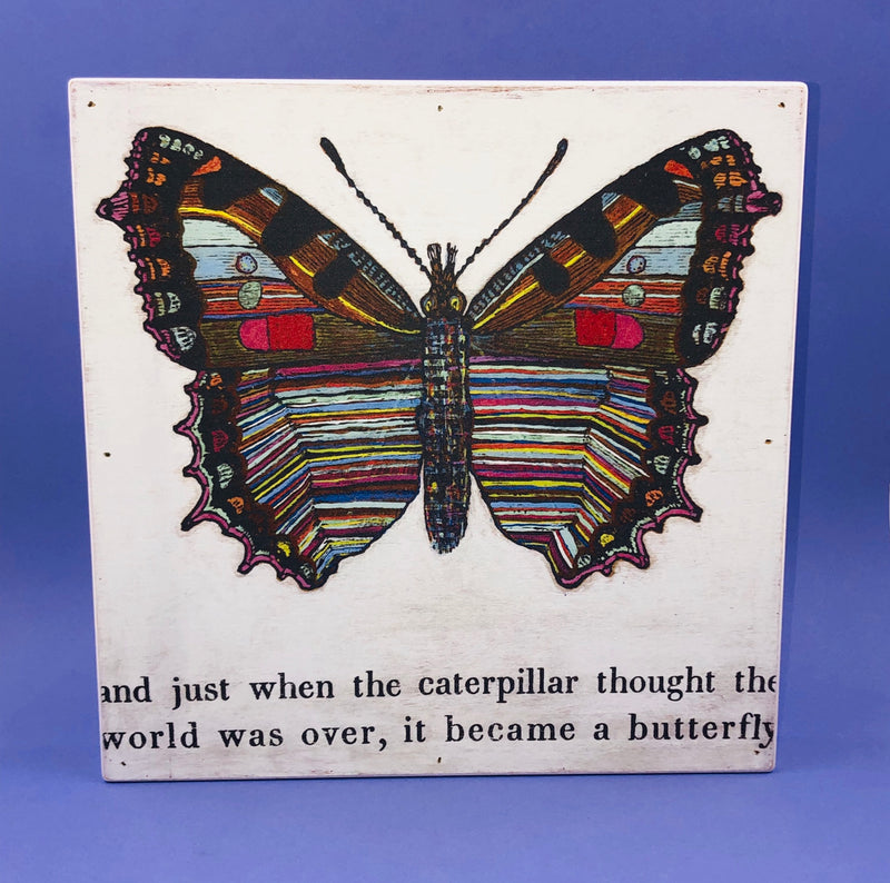 Wood Wall Art - Caterpillar To Butterfly