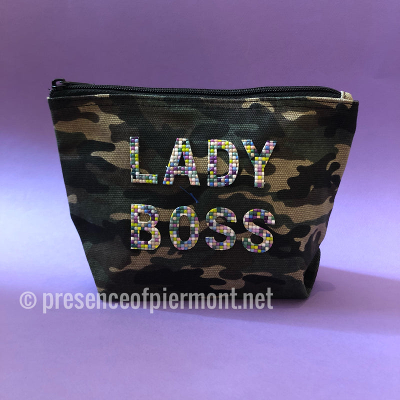 Camo Cosmetic Beaded Pouch