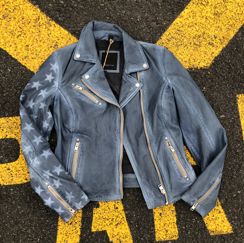 Distressed Washed Star Leather Jacket - Blue