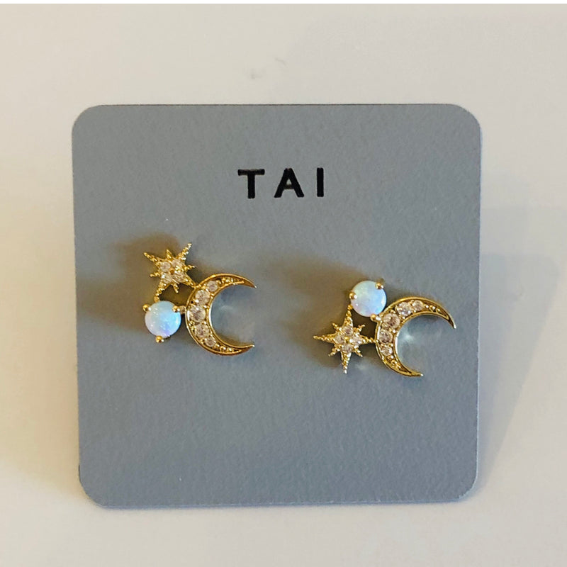 Tai White Opal Starburst and Half Moon Cluster Post Earring