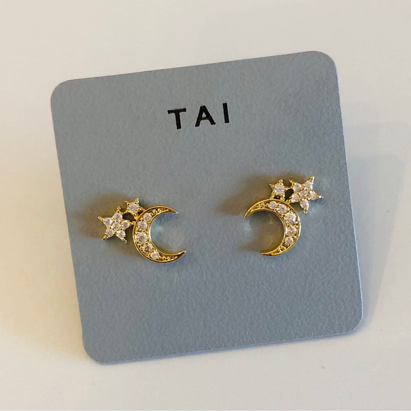 Tai  Gold & CZ Double Star and Half Moon Cluster Post Earring