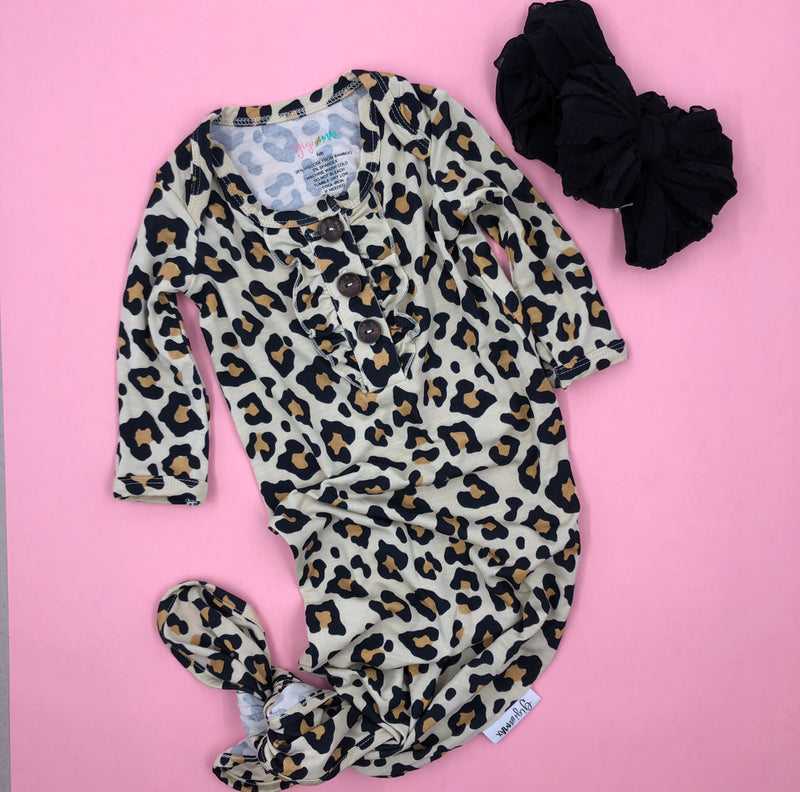 Leopard NB Gown & Bow Set