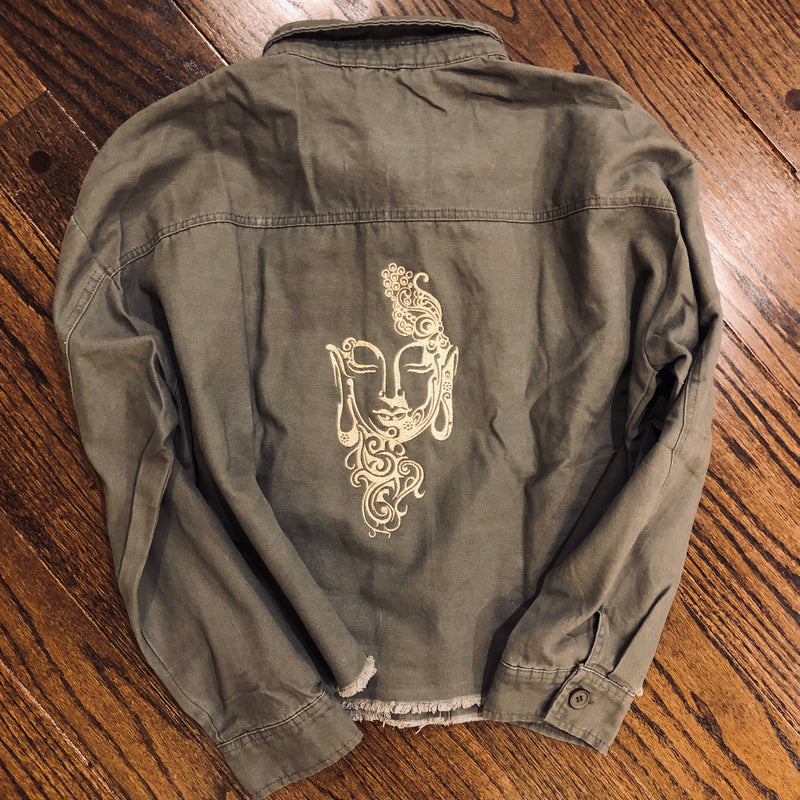 Oversized Cropped Buddha Army Jacket