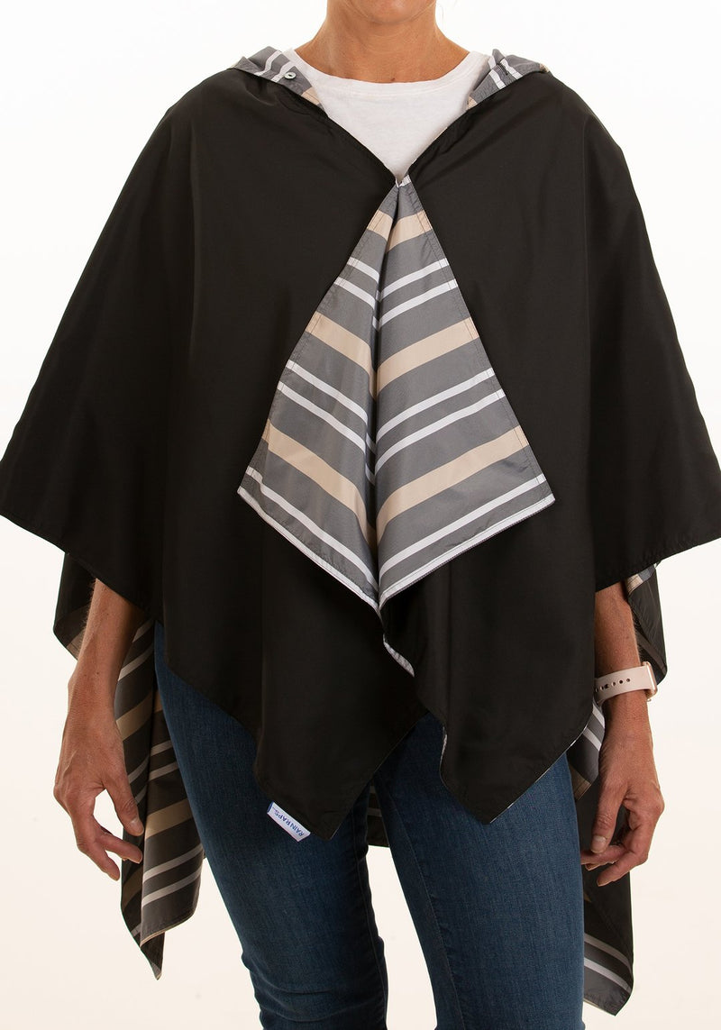 Hooded Black  Rainrap - Cabana Stripe