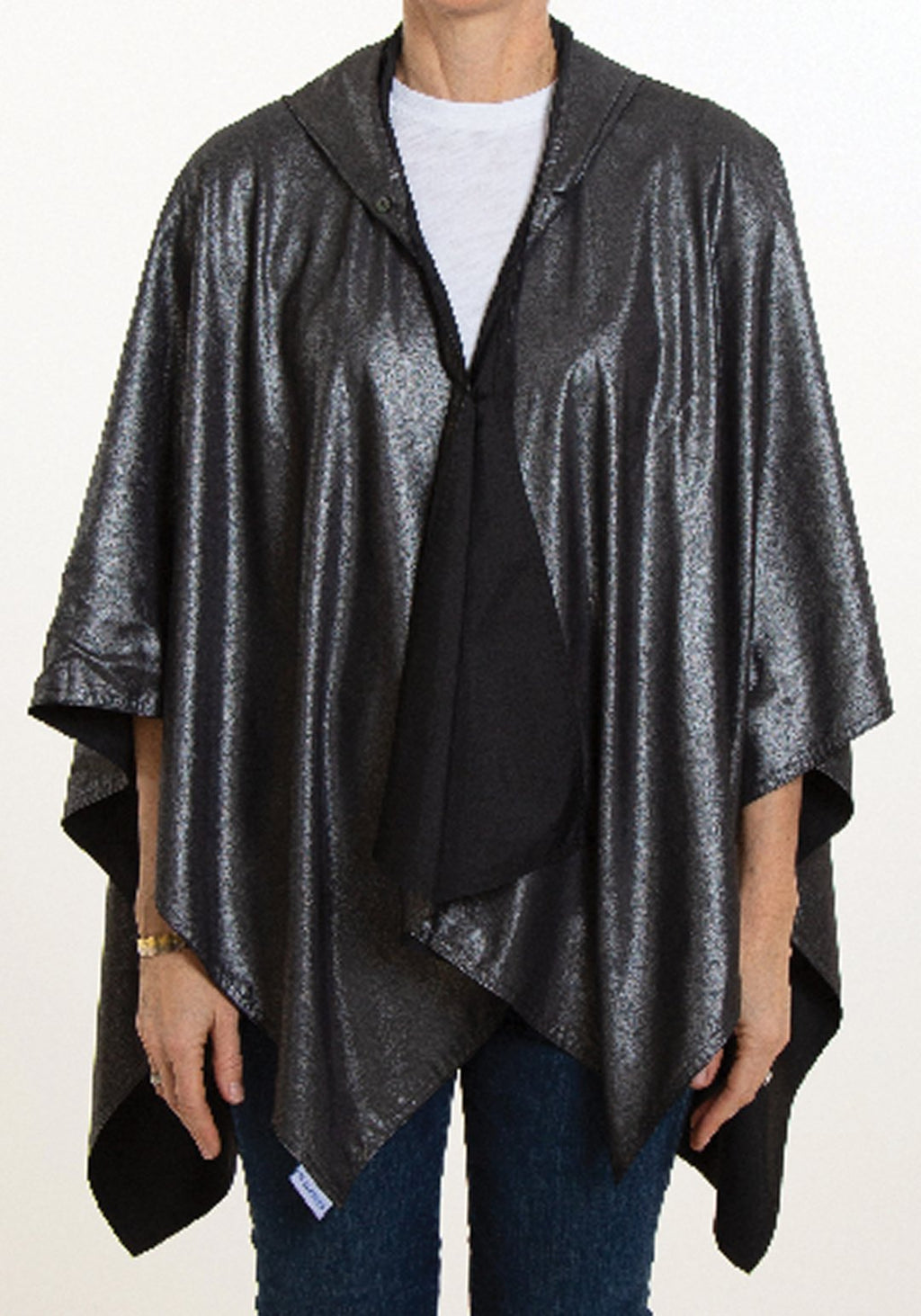 Hooded Metallic Rainrap - Black