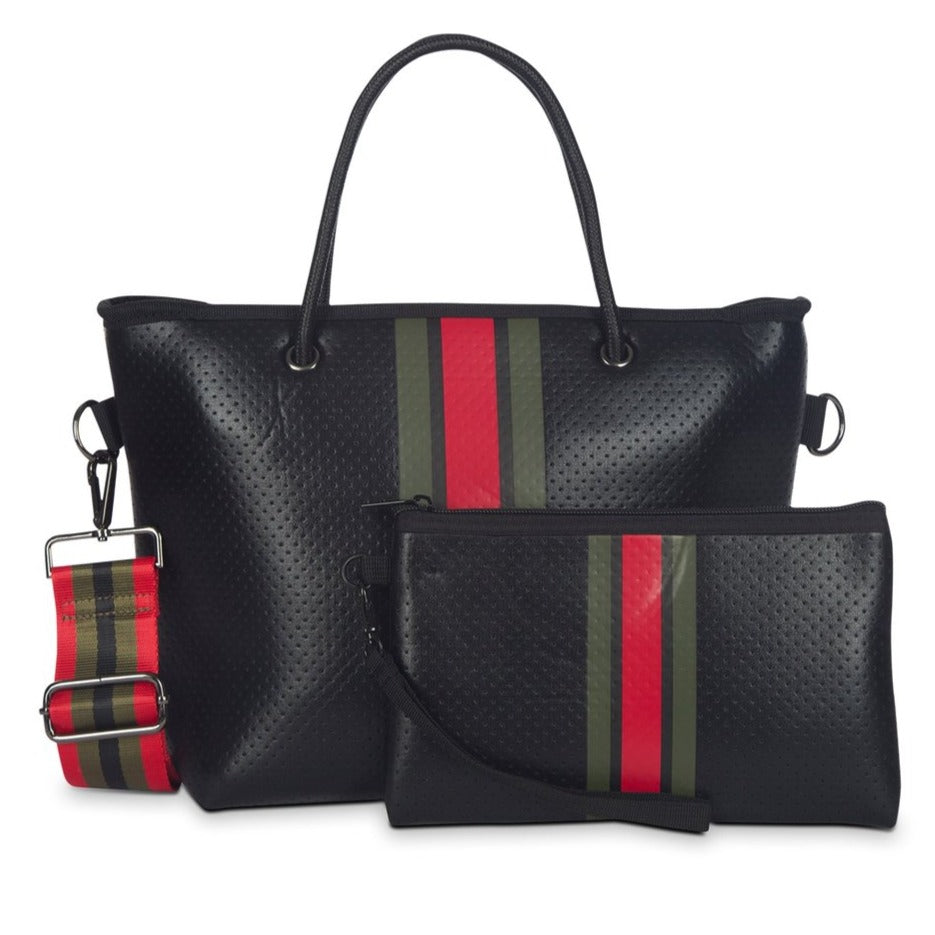 Haute Shore Ryan Mini  Tote - Bello black Army/Red Stripe