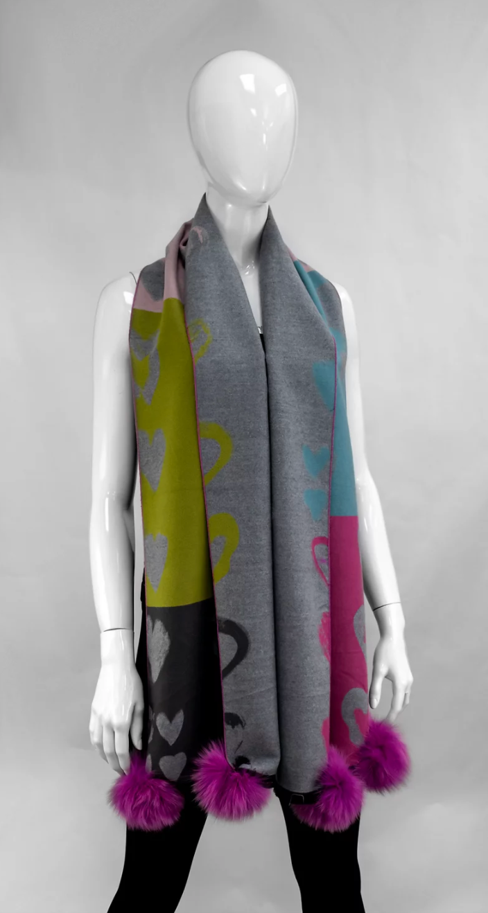 Melange Pink Scarf with Hearts