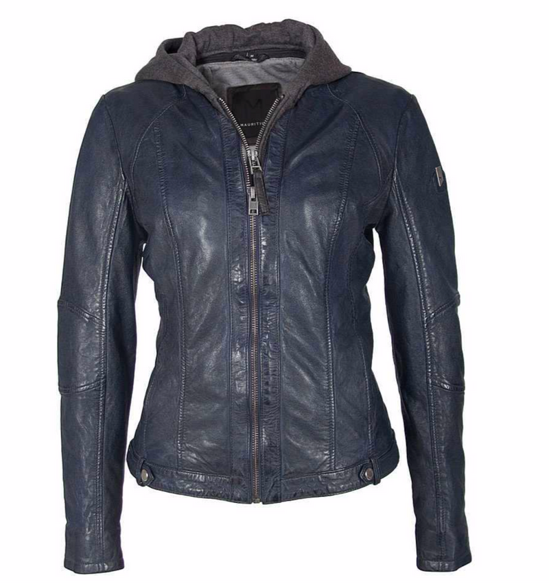 Mauritius Washed Leather Jacket W/Hood - Blue/Black