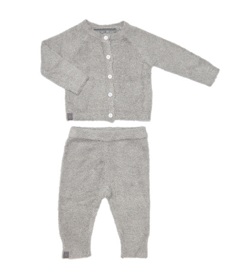 Barefoot Dreams Infant Classic Cardigan Set- Pewter
