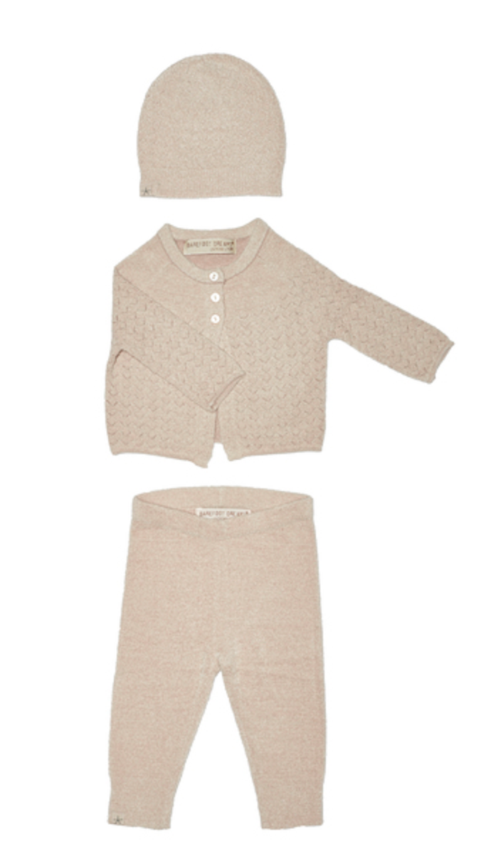 Barefoot Dreams Infant Pointelle Cardigan Set- Shell