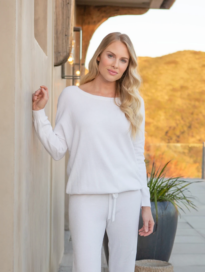 Barefoot Dreams Cozy Chic Ultra Light Slouchy Top - Sea Salt