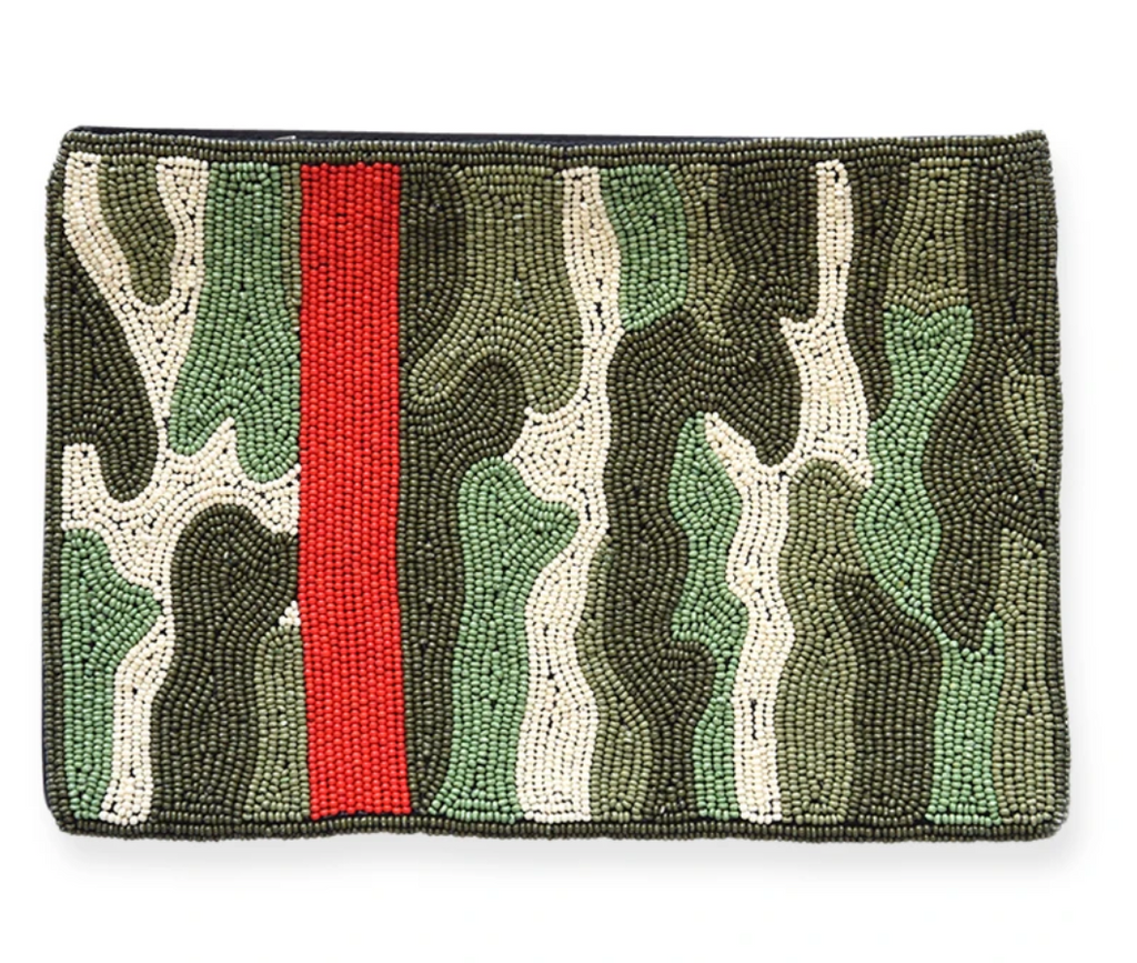 Ink + Alloy Clutch - Green Camo w/ Red Stripe