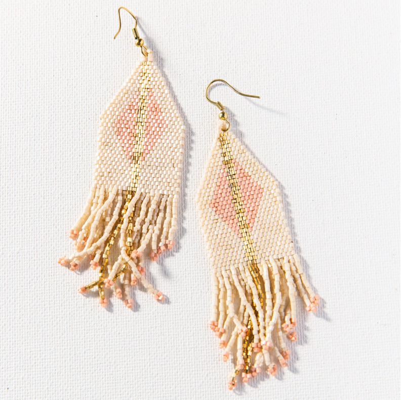 Ink + Alloy Luxe Diamond w/Fringe Earring - Ivory & Blush