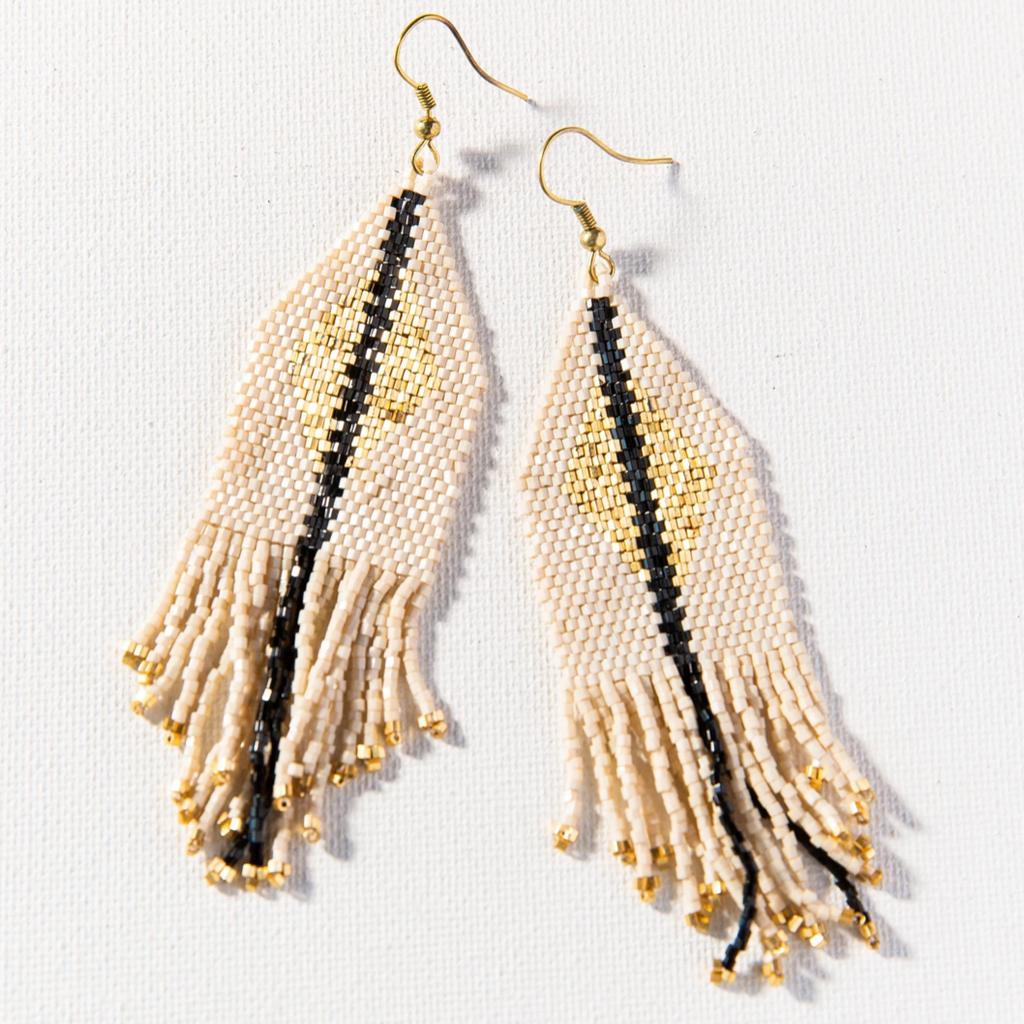 Ink + Alloy Luxe Diamond w/Fringe Earring - Ivory & Gold