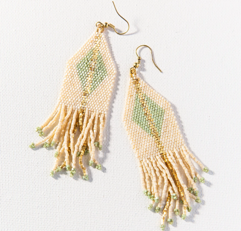 Ink + Alloy Luxe Diamond w/Fringe Earring - Ivory & Mint