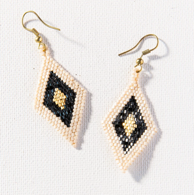 Ink + Alloy Luxe Earring - Black Gold Ivory Small Diamond