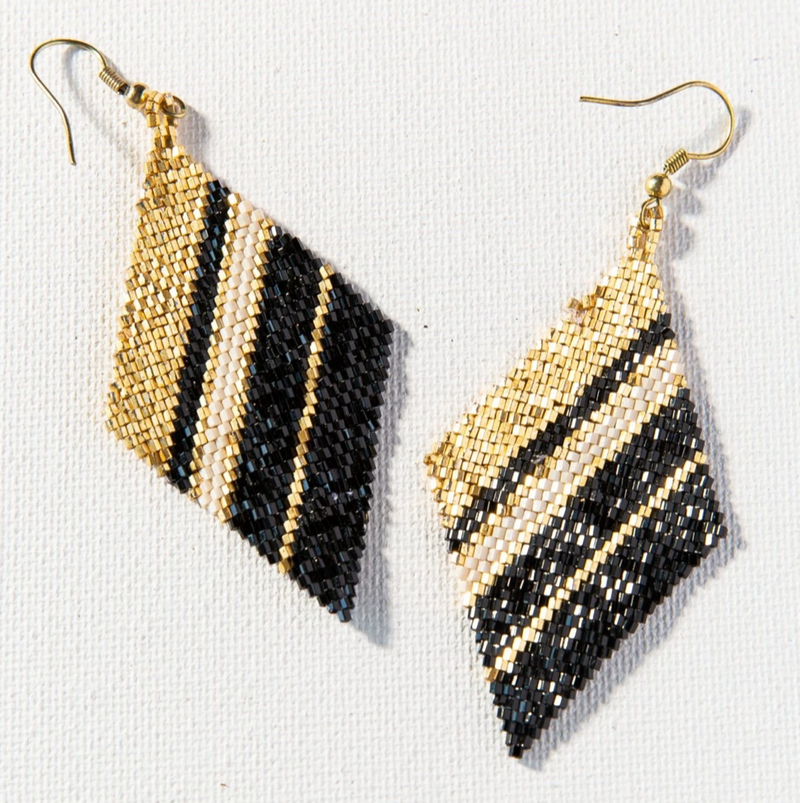 Ink + Alloy Luxe Earring - Gold Black Ivory Stripe Diamond