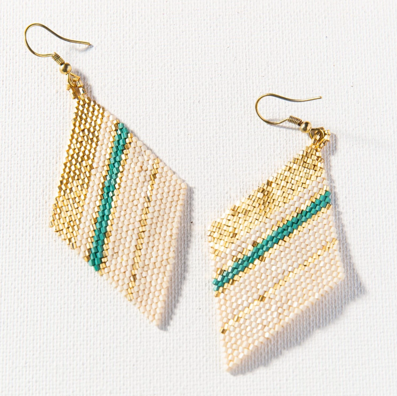 Ink + Alloy Luxe Earring - Teal Gold Ivory Striped Diamond
