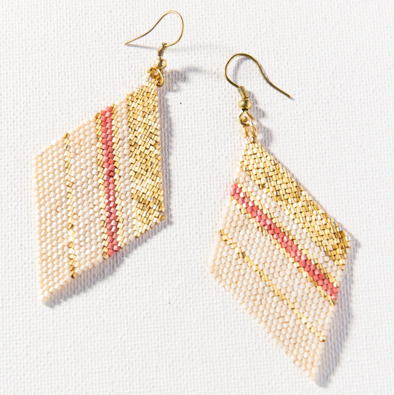 Ink + Alloy Luxe Earring - Terracotta Gold Ivory Stripe Diamond