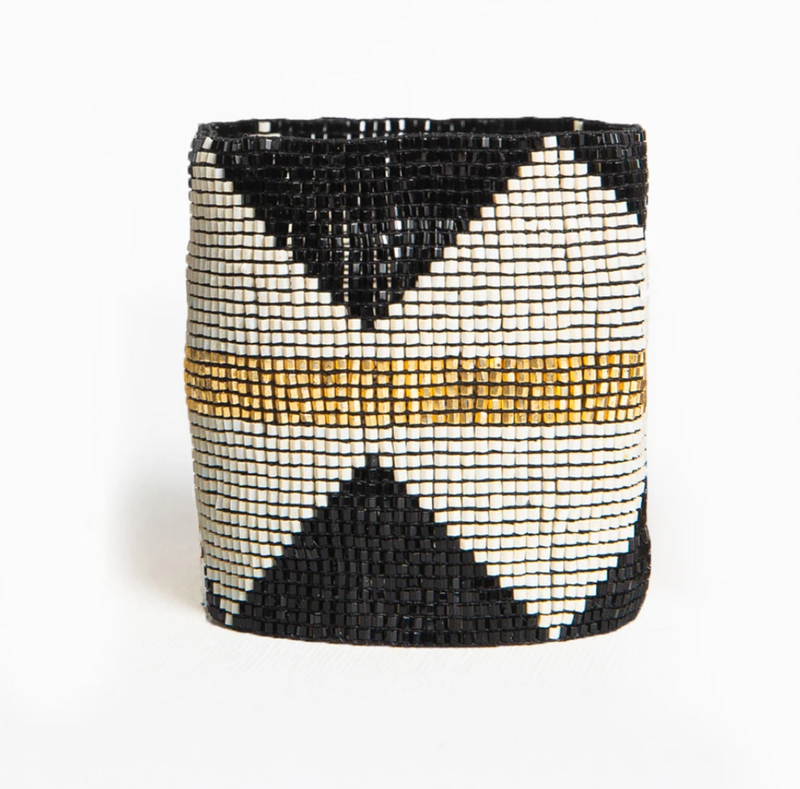Ink + Alloy Luxe Stretch Bracelet - Black/Ivory/Gold