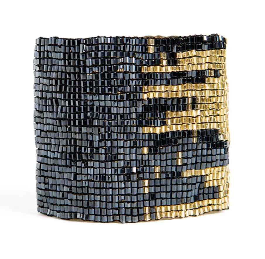 Ink + Alloy Stretch Bracelet - Blue & Gold