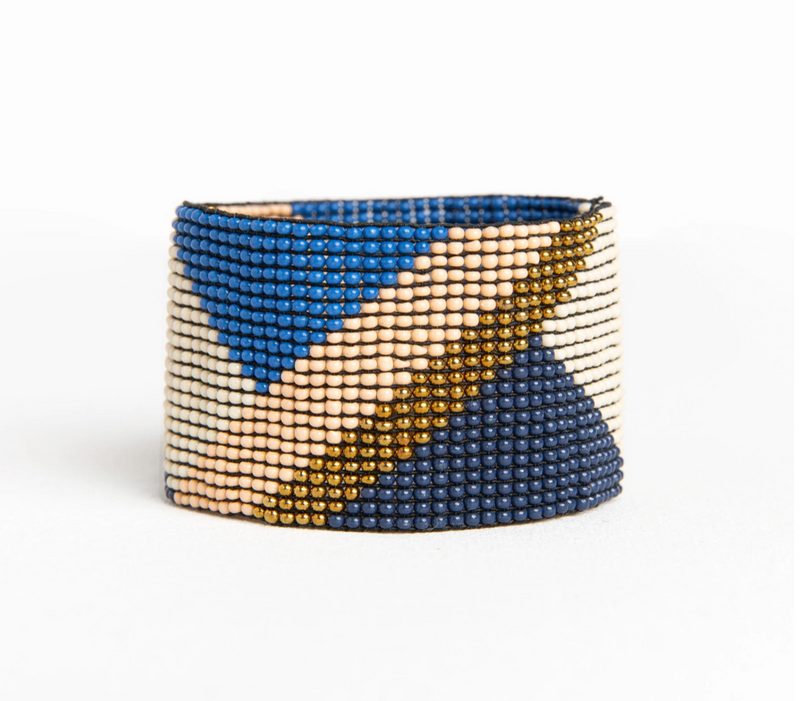 Ink + Alloy Stretch Bracelet - Navy Lapis Pink Gold Diagonal Stripe