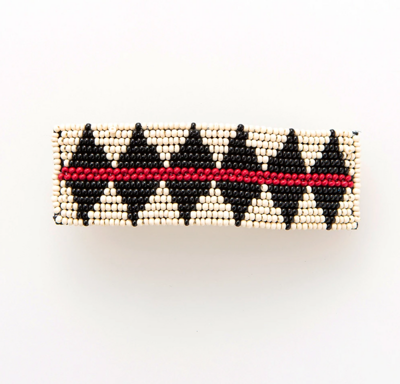 Ink + Alloy Barrette - Ivory w/ Black Diamond & Red Stripe