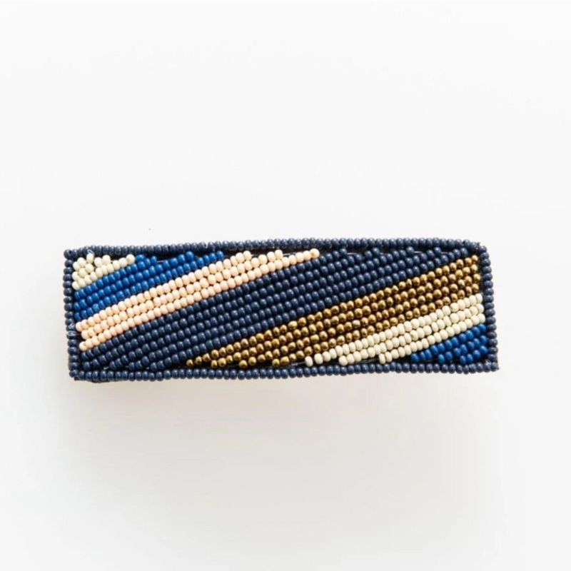 Ink + Alloy Barrette - Navy Pink Lapis Gold Diag Stripe