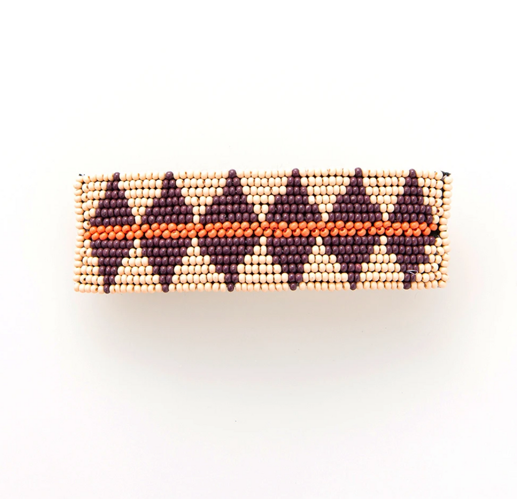 Ink + Alloy Barrette - Pink w/ Port Diamond & Terracotta Stripe