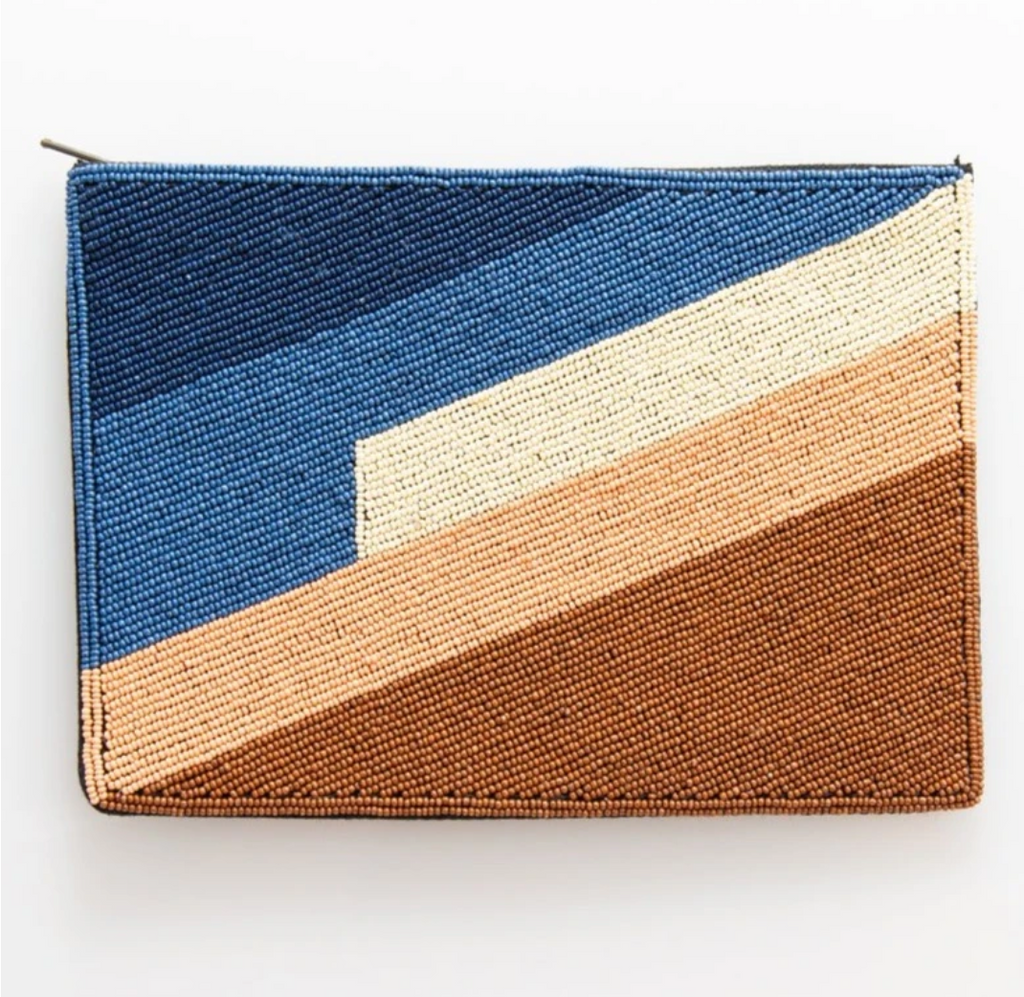 Ink + Alloy Clutch - Blue Pink Bronze Stripe