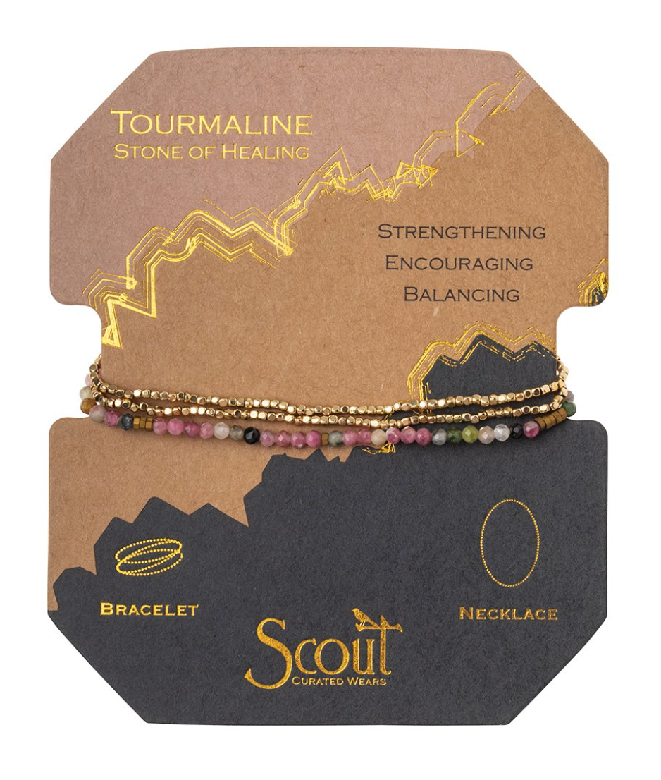 Scout Delicate Stone Wrap Bracelet/Necklace Tourmaline Gold
