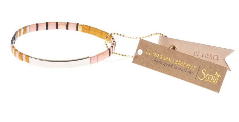 Scout Good Karma Tile Bracelet Be Fierce Pink Mustard Silver