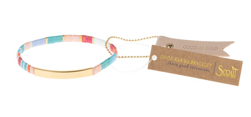 Scout Good Karma Tile Bracelet Good As Gold Aqua multi gold