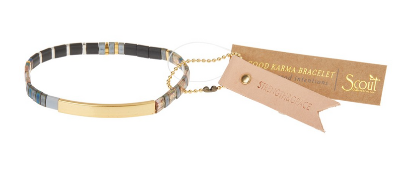 Scout Good Karma Tile Bracelet Strength & Grace Gunmetal/Gold