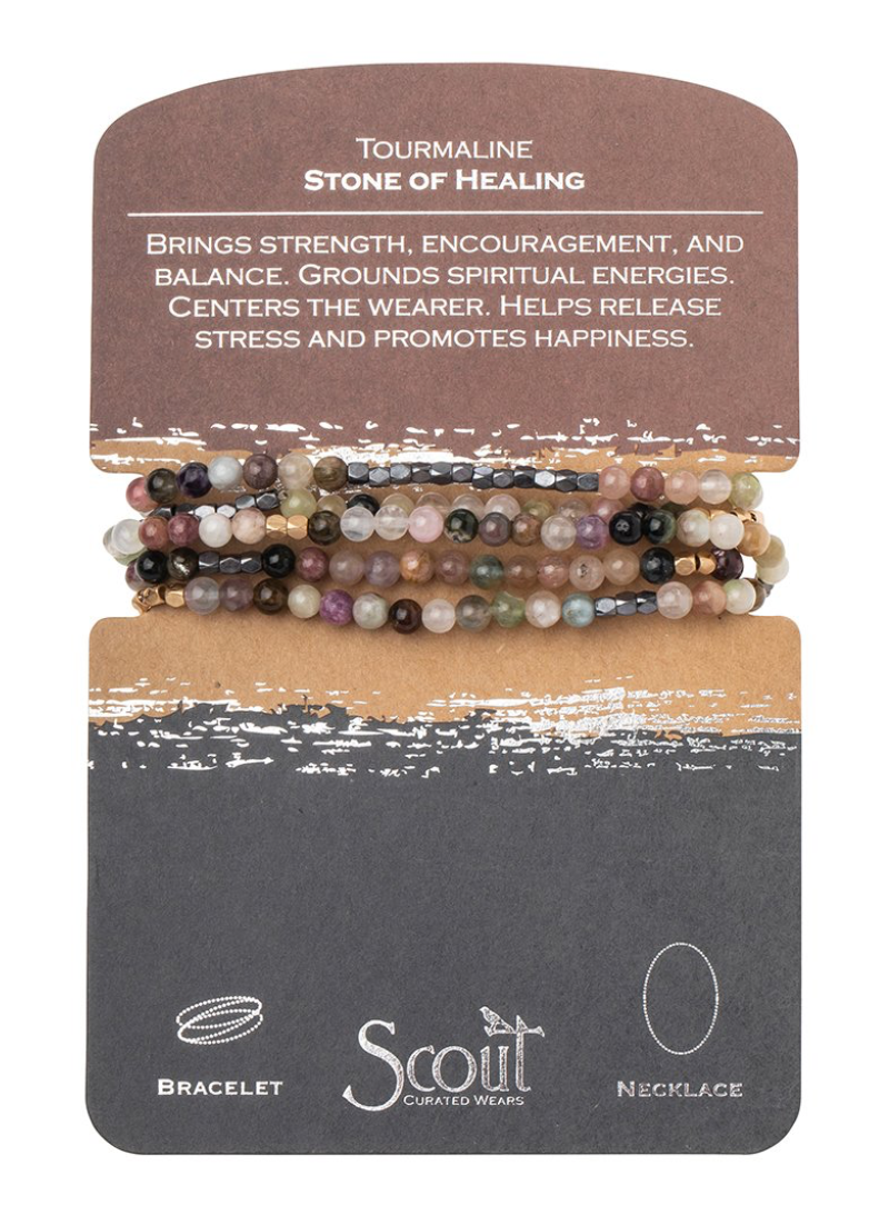Scout Stone Wrap Bracelet/Necklace Tourmaline