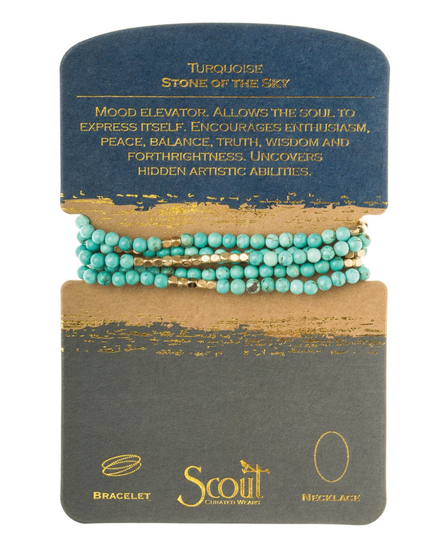 Scout Stone Wrap Bracelet/Necklace Turquoise Gold