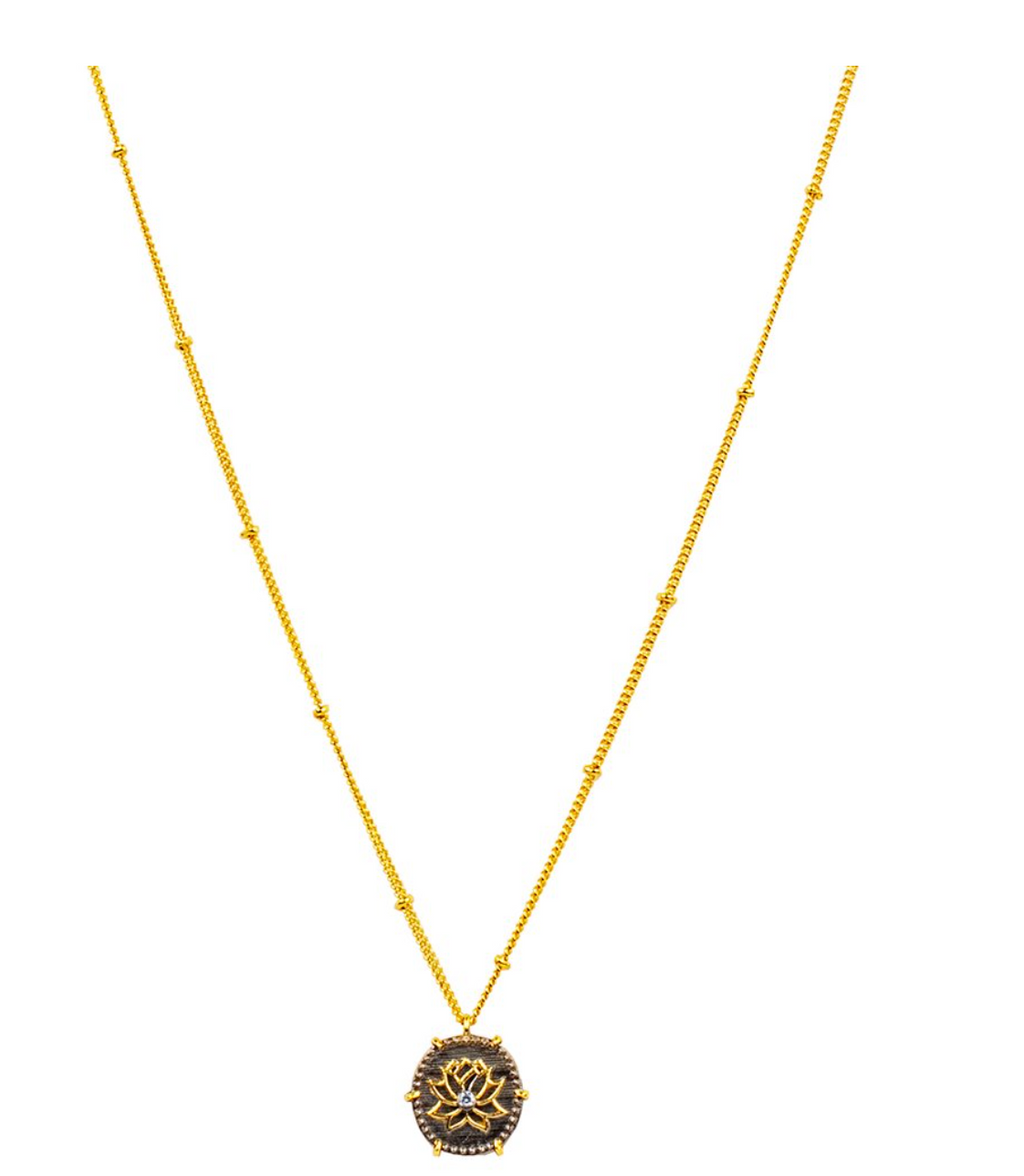 Karma and Luck Brilliant Beginnings Gold Plated Lotus Necklace
