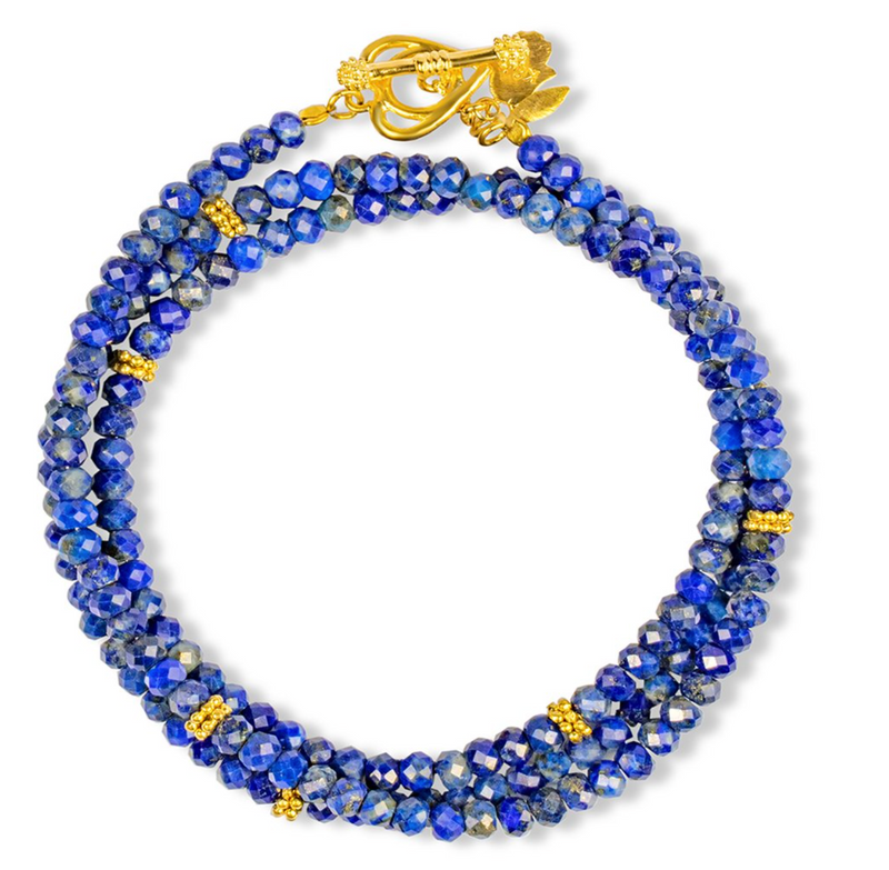 Karma and Luck Peaceful Heart Lapis Lazuli Wrap Bracelet