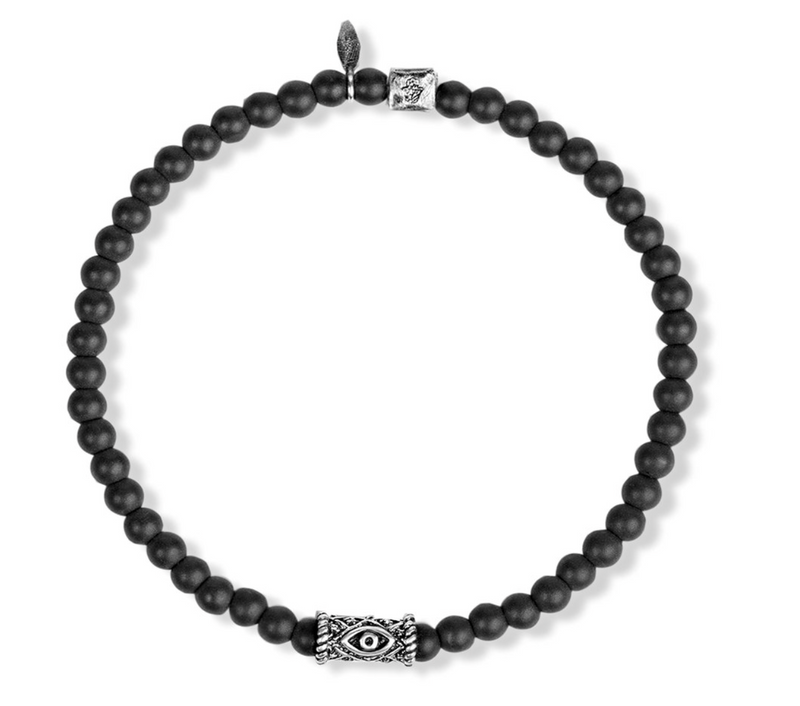 Karma and Luck Stress Soother Silver Evil Eye Bracelet