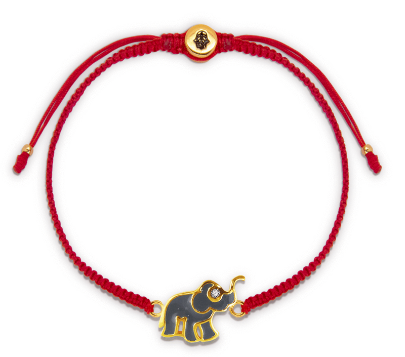 Karma and Luck Wise Future Red String Elephant Charm Bracelet