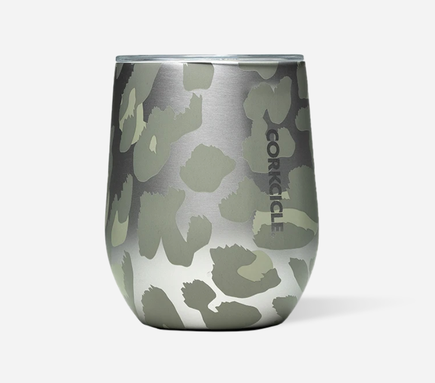 Corkcicle 12oz Stemless Snow Leopard