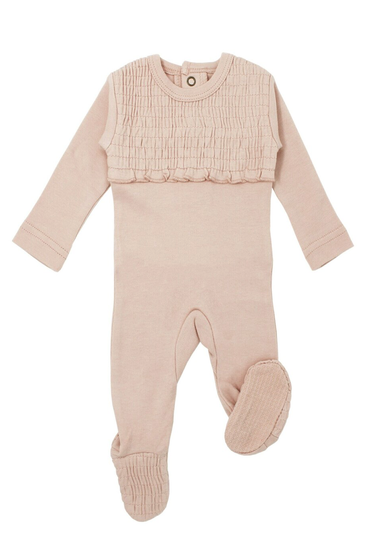Loved Baby Organic Smocked Footie Rosewater