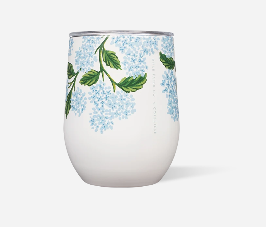 Corkcicle 12oz Stemless Cream Hydrangea