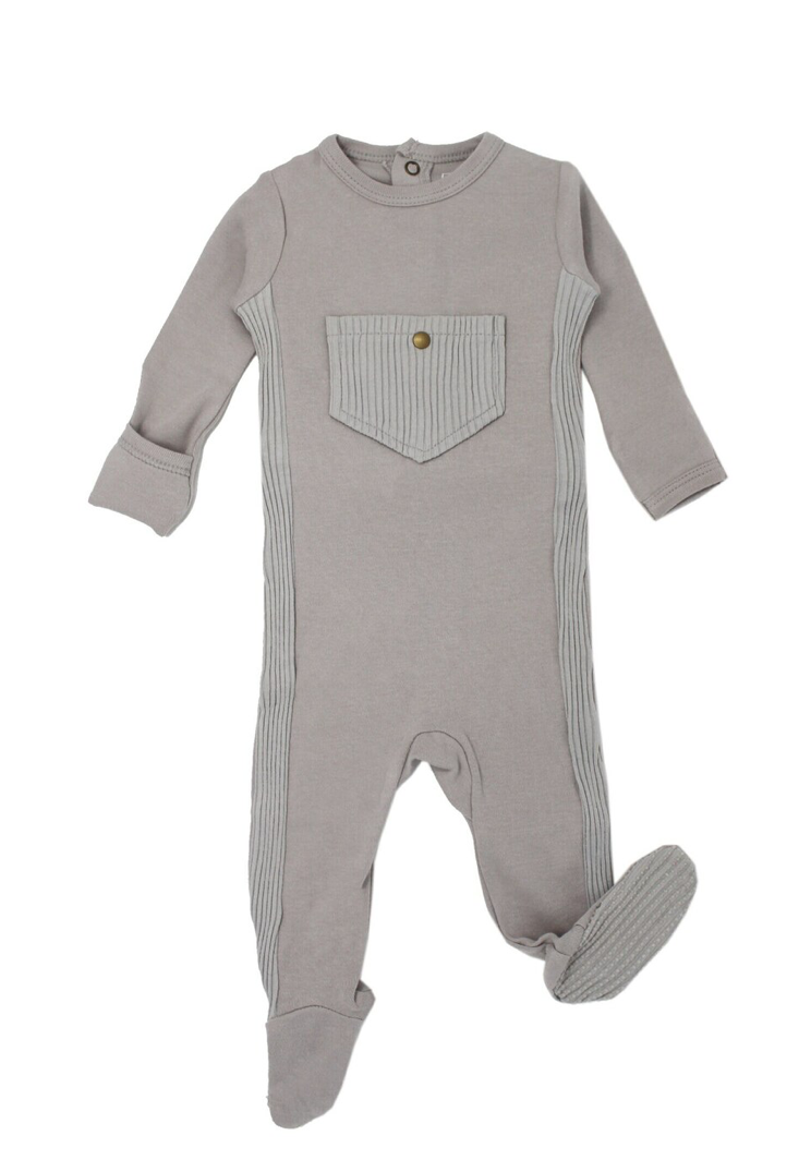 Loved Baby Ribbed Footie - Light Grey