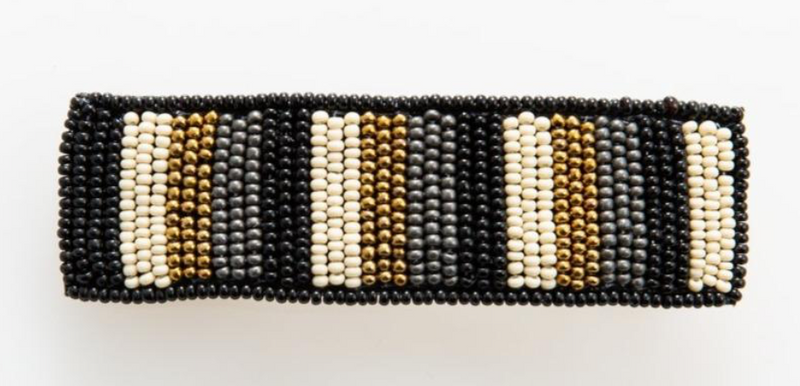 Ink + Alloy Barrette - Black Gold Grey Ivory Stripe