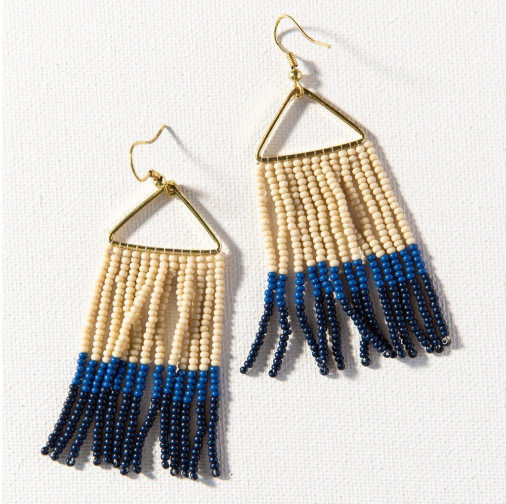 Ink + Alloy Fringe Earring - Ivory Navy Light Blue Ombre Gold Stripe
