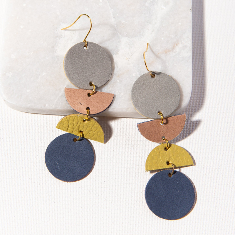 Ink + Alloy Leather Earring - Geo Dangle Grey Blush Citron Indigo