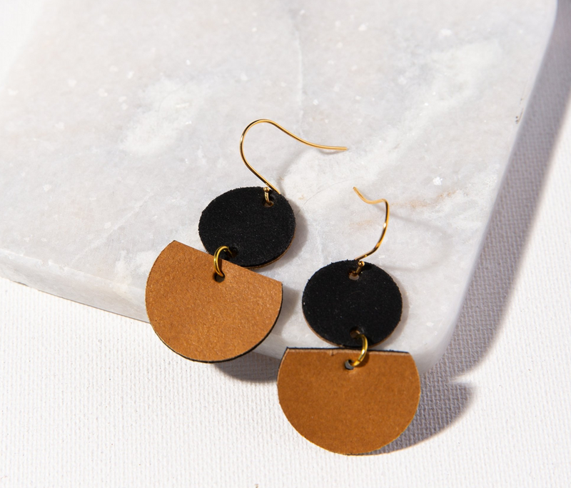 Ink + Alloy Leather Earring - Half Circles Camel and Black